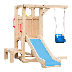 "CedarWorks - CedarWorks Frolic 4 Swingset - My toddler loves to swing and slide, they are just not ready for the big kid stuff. Well look no further than the first stage in the ""growing together"" Frolic line samples. Start with a toddler-friendly slide, booster step and kid swing and have the perfect foundation to grow the set as your child's needs change and develop."