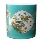 Golden Lotus - Turquoise Blue Flower Bird Graphic Decorative Porcelain Pot - This is a hand painted vintage reproduction brush pot with turquoise glazed color and graphic of oriental style birds and flowers. It has a decent job that the surface and finish is fine and smooth.
