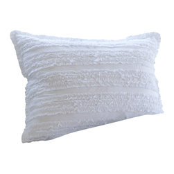 Taylor Linens - Ruffle White Standard Sham - This softly ruffled sham is the epitome of vintage country romance. Simple yet surprisingly sensual, you won't be able to stop running your fingers over those cambric ruffles. Fear not, it's machine washable too.