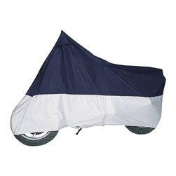 None - MG Blue and Silver Motorcycle Cover - Protects motorcycles against weather,dirt and pollutantsFits motorcycles with or without accessoriesincluding sport bikesNon-scratch material in upper panel,heat-resistant material in lower panel