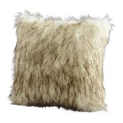 Cyan Design - Faux Prairie Wolf Pillow - Grey faux fur pillow.