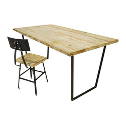 """Urban Wood Goods - Brooklyn Modern Rustic Reclaimed Wood Desk - Standard, 60"""" x 24"""" - Rustic and reclaimed wood never looked so chic. Salvaged flooring pieces have been expertly deconstructed and combined with sleek metal bases to create a truly unique table. Use it as a desk or a breakfast nook for a modern and sustainable work and play space."""