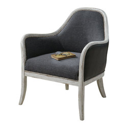 "Carolyn Kinder - Carolyn Kinder Dayla Indigo Accent Chair X-18132 - Ultimate casual comfort in a washed indigo, slubbed linen seat with crusted ivory accent nails and whitewashed pine frame. Outside arms and back are supple faux leather. Seat height is 19""."