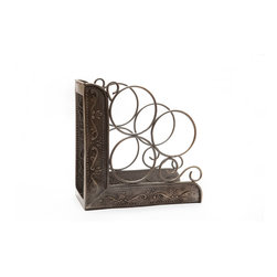 "Old Dutch International - Antique Embossed ""Victoria"" Wine Rack Bookend - Display your bottles in elegant style with this scrolled wine rack. This beautifully detailed metal rack will house three bottles while also working as a bookend (10¼"" x 4¾"" x 10¼""), if you so choose. With its antique pewter finish, this wine rack is ultra sophisticated."