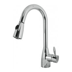 """Virtu USA - Polished Chrome Single Hole Kitchen Faucet - The Neptune single handle kitchen faucet comes complete with housing designed to resist the wear and everyday use and then some. Take notice in the beautiful modern design accompanied by an ADA compliant lever handle for a much more simpler accessibility. It is immaculately designed with simplicity while maintaining multifunctional purposes. The Neptune kitchen faucet was designed with both luxury and practicality in mind. Finish: Polished Chrome; Control Handle: Single Lever Water and Temperature Control; Configuration: Single-Hole; Material: Solid Brass with Ceramic Cartridge; Dimensions: 2.8""""W X 9""""D X 16""""H; Included: All Mounting Hardware and Hot/Cold Waterlines; Standard US Plumbing Connections"""