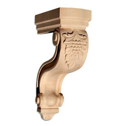 """Inviting Home - Modesto Large Wood Corbel - Red Oak - wood corbel in red oak 13-1/4""""H x 8-3/8""""D x 3-3/4""""W Corbels and wood brackets are hand carved by skilled craftsman in deep relief. They are made from premium selected North American hardwoods such as alder beech cherry hard maple red oak and white oak. Corbels and wood brackets are also available in multiple sizes to fit your needs. All are triple sanded and ready to accept stain or paint and come with metal inserts installed on the back for easy installation. Corbels and wood brackets are perfect for additional support to countertops shelves and fireplace mantels as well as trim work and furniture applications."""