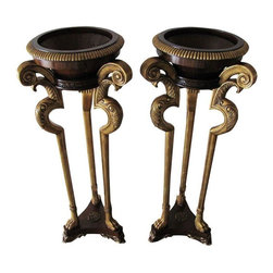 Maitland - Smith - Pre-owned Maitland Smith Plant Stands - A Pair - Amazing quality and craftsmanship are present in this pair of Maitland Smith plant stands. They would look fabulous flanking an entryway, fireplace, window, etc. There are a few minor nicks in the interior of the bowls.      18.5 inches scroll to scroll, 13 inches upper interior width of bowl.