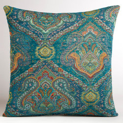 Peacock Jacquard Venetian Pillow - The peacock coloring and beautiful jacquard print make this a unique pillow for a sofa set or chair. Morocco is full of beautiful roaming peacocks, and the colors that they inspire are stunning.