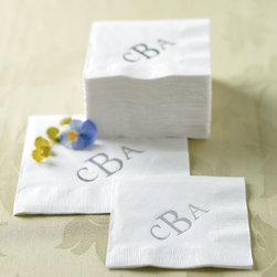 """Grandin Road - Monogrammed Luncheon Napkin - Set of 50; each napkin is 6-1/2"""" square. Monogram letters will appear in the order in which they are entered."""