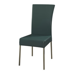 Powell - Powell Cameo Teal Dining Chair (Pack of 2) X-694-334 - A stylish dining complement in modern, contemporary design with the Cameo dining chair in Teal. This colorful chair features a sturdy chrome metal frame with a slim waterfall faux leather profile. The modern style and beautiful teal color will complement a range of d&#233:cor. Some assembly required.