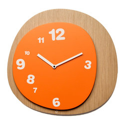 Progetti - Woodie 1905 Light Wood/Orange Wall Clock - Wall clock made in wood. Battery quartz movement.