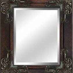 YOSEMITE HOME DECOR - Antique Silver Framed Mirror - Mirror of Antique Silver Wood Frame with intricate detailing