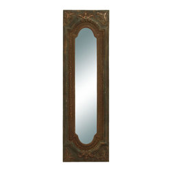 Benzara - Elegant Mirror - Old Look Looking Glass - This antique looking glass is just what you are looking for to complete your foyer or hallway decoration. The mirror is simple and looks as if it were hand made a hundred years ago. The frame is a delightfully rustic wood frame with fleur-de-lis ornaments inset. The inner frame is made in an antique style with scrolling decoration surrounding it.