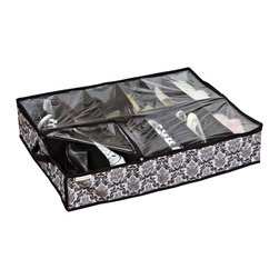 Laura Ashley - Under the Bed 12-pair Shoe Organizer - This Dalancey Shoe Organizer fits under the bed and holds 12 pairs of shoes. The polyester construction features a classic pattern in black, white and grey.