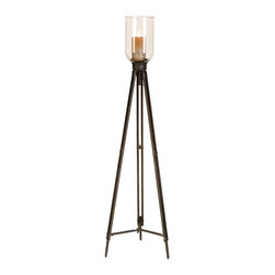 """ecWorld - Antiqued 50"""" Tripod Floor Standing Pillar Candle Holder with Clear Glass Top - Creating instant ambiance in a living or dining room this aluminum floor candleholder rekindles the elegance of another era with contemporary flair. Large floor display piece ideal to uplift any room decor."""