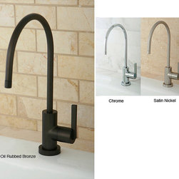 None - Single-handle Water Filter Faucet - Drink pure and clear water out of this sleek water filter faucet. This unique and stylish faucet has a high arch for convenience when washing large items. It has a single handle and comes in chrome, oil-rubbed bronze, and satin-nickel finishes.