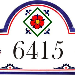 Mexican Red Flower Address Plaque - To find out more and how to order click here: http://www.classyplaques.com/mexican-red-flower-address-plaques/