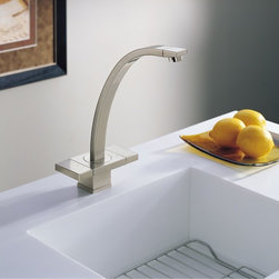 Loki Kitchen Collection By Brizo - An example of innovative Scandinavian design, the graceful curve of the spout leaps from the flat platform to give Loki a dramatic look. With every slide of the unique handle system, the user is engaged in a modern sculpture. Loki is the proud winner of the RedDot award for product design.
