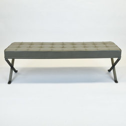Desiron Modern Bench w/Putty Leather & steel Legs - Dimensions:L 66''  × W 19''  × H 19''