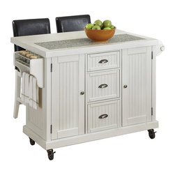 "HomeStyles - Distressed White Kitchen Cart and Two Stools - Give your home a cozy, inviting atmosphere with the Nantucket Kitchen Cart and Two Stools. It's sanded worn edges and distressed white finish provides the casual elegance that's great for any home decor style. The Nantucket Kitchen Cart and Two Stools is constructed of hardwood solids and engineered wood. Finishing process includes paint specking on the sanded and distressed finish providing a weathered look. Features include ���_ inch speckled multi-color black granite inset, two cabinet doors each containing an adjustable shelf, three storage shelves, built-in spice rack and towel bar, paper towel holder, and industrial size casters (two locking). Bar Stools feature black vinyl seat and Back, and a metal foot rest to protect the front rail. Seat height 24"". Set includes kitchen cart and two stools. Kitchen Cart Size: 53.5 in. W x 20.75 in. D x  36.25 in. H. Stool Size: 18 in. W x 21 in. D x 40 in. H"