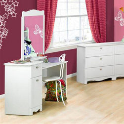 Nexera - Dixie Bedroom Vanity Table - MFI365 - Shop for Vanities from Hayneedle.com! All girls need a makeup station. The Dixie Bedroom Vanity is a perfect way to keep everything she needs for her daily routine tidy. The vanity features a wide top smooth gliding drawer and enclosed cupboard with plenty of storage room. The mirror has a decorative scalloped design to match. Both have a cool white lacquer finish to match any bedroom style.About Megalak Finition Inc.Megalak Finition is a Canadian-based company specializing in quality ready to assemble bedroom office and entertainment furniture. Megalak Finition prides itself on creating personalized home furnishings as unique as you - furniture that allows you to create a space all your own. Look to Megalak Finition furniture to find your new style: eco-chic retro or glamorous. Megalak Finition provides stylish quality workmanship worthy of your home.