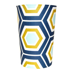 """Square Feathers - Atlantic Hex Wastebasket - The Atlantic Hex wastebasket exudes a sense of contemporary cool. This unique trash can makes a bold statement with a geometric honeycomb print in blue, green and white. 9""""Dia (top) x 8""""Dia (bottom) x 14""""H; White plastic receptacle; Slip covered in fabric"""