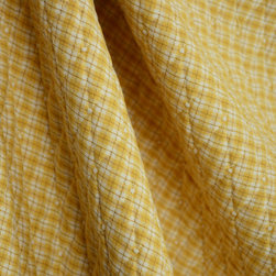 White Golden Yellow Brown Mini Plaid Quilted Diamond Fabric - Golden yellow, brown and white create a mini plaid pattern on this quilted fabric.  This fabric would make warm and comfy bedding, fun pillows and headboards.