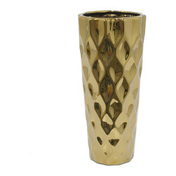 Gold Diamond-Pattern Vase - Either displayed empty as a stunning accent piece or overflowing with natural blooms, this metallic gold vase looks absolutely lovely with its dimpled diamond surface.
