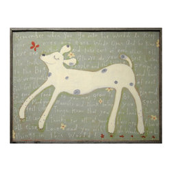 Kathy Kuo Home - Remember When You Go - Reclaimed Wood Brown Girl Dog Wall Art - Small - Designed by a husband and wife team, our giclee prints are inspired by the ones we love. Motifs comes from family, nature, animals, old things, children's art and folk art. All prints are hand painted first, and then giclee printed in the Blue Ridge Mountains of North Georgia.