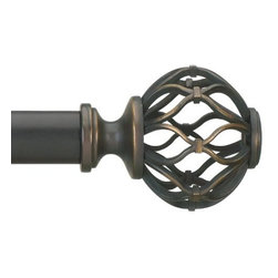 """Umbra - Nicolas Drapery Rod, 72-144"""" by Umbra - It includes a one-inch-diameter telescoping rod in a burnished black and gold finish, two metal cage decorative finials, and complete mounting hardware. Designed to fit a range of window sizes, the rod extends from 72-Inch to 144-Inch long using an auxiliary rod that fits inside the main rod for added length and support."""