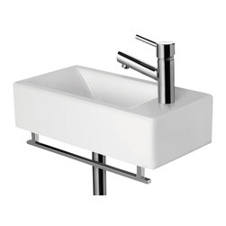 ALFI brand - ALFI brand AB108 Small Modern Rectangular Wall Mounted Bathroom Sink - A simple small porcelain wall mounted bathroom sink is sometimes harder to find than you might think. This Alfi brand sink model offers a modern sink design in a compact size and convenient shape. Perfect for upgrading small bathrooms or powder rooms. *Faucet and towel bar not included.