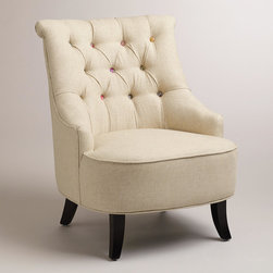 "Cute-as-a-Button Erin Chair - Nicely tailored high back chair that says ""boudoir"" comfort and style. Comes in a print too."