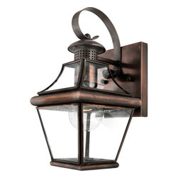 Quoizel Lighting - Quoizel CAR8406AC Carleton 1 Light Outdoor Wall Light, Aged Copper - Long Description: The historical design of the Carleton outdoor fixture will bring a handsome colonial appeal to your home. The antique style solid copper, square tapered frame with a curved top eloquently displays the clear beveled glass, adding an elegant touch to the light.
