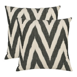 Deco Charcoal Gray Decorative Pillows, Set of 2 - I'm a firm believer that you can never have too many pillows! Add these gorgeous, graphic black and white ikat ones to my list, stat!