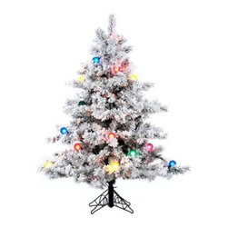 Vickerman Flocked Alaskan Clear Pre-lit Christmas Tree - There's just no reason that the Vickerman Flocked Alaskan Clear Pre-lit Christmas Tree can't be the centerpiece of this year's holiday decorations. Prelit with clear, Dura-Lit lights, this gently flocked tree is available in a wide range of sizes to fit any room in your home. No matter size you choose, you'll be able to enjoy the classic style with no hassle thanks to the sturdy base and hinged-branch design. Specifications for 3-foot tree Shape: FullBase Width: 24 inchesNumber of Bulbs: 100Number of Tips: 116Specifications for 6.5-foot tree Shape: FullBase Width: 62inchesNumber of Bulbs: 600Number of Tips: 1045Specifications for 7.5-foot tree Shape: FullBase Width: 68 inchesNumber of Bulbs: 800Number of Tips: 1495Specifications for 10-foot tree Shape: FullBase Width: 82 inchesNumber of Bulbs: 1400Number of Tips: 2885Specifications for 14-foot tree Shape: FullBase Width: 102 inchesNumber of Bulbs: 2500Number of Tips: 6571Don't Forget to Fluff!Simply start at the top and work in a spiral motion down the tree. For best results, you'll want to start from the inside and work out, making sure to touch every branch, positioning them up and down in a variety of ways, checking for any open spaces as you go.As you work your way down, the spiral motion will ensure that you won't have any gaps. And by touching every branch you'll create the desired full, natural look.About VickermanThis product is proudly made by Vickerman, a leader in high quality holiday decor. Founded in 1940, the Vickerman Company has established itself as an innovative company dedicated to exceeding the expectations of their customers. With a wide variety of remarkably realistic looking foliage, greenery and beautiful trees, Vickerman is a name you can trust for helping you create beloved holiday memories year after year.