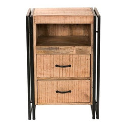 """YOSEMITE HOME DECOR - End Accent Table - A simple and beautiful piece for  any room. This accent table is made from solid mango wood and a rectangular  tubed steel frame. The case features a soft  textured  finish. A aged black Dual metal frame and hardware add a soft but exciting contrast. Two drawers sit under a open cubby space for plenty of storage. Assembled, Made in India.  Overall Item Dimension 22""""Wx16""""Dx32""""H"""