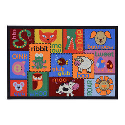 None - Children's Animal Design Multicolor Area Rug (5' x 6'6) - The Children's Animal Design non-skid, rubber-backed area rug features children's education and novelty designs that are sure to uplift any space. This inviting area rug offers a durable construction for years of use, and a bright color palette.