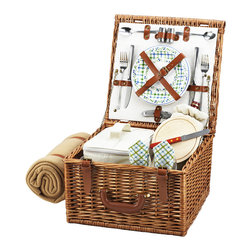"Picnic At Ascot - Cheshire Picnic Basket for Two with Blanket, Wicker W/Gazebo - The quality and sophistication of the English style Cheshire Picnic Basket for two is sure to impress.  Beautifully hand crafted using full reed willow, each basket includes ceramic plates, glass wine glasses, and the highest quality accessories.  Includes: (2) ceramic plates, glass wine glasses, stainless flatware, cotton napkins, (1) food cooler, insulated wine pouch, hardwood cutting board, spill proof salt & pepper shakers, wood handle cheese knife, stainless waiters corkscrew, and 50"" x 60"" fleece blanket. Natural Willow with leather handle, closures, hinge covers. Lifetime Warranty."