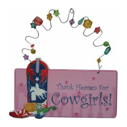 WL - 3.25 Inch Thank Heaven For Cowgirls Ceramic Wire Hanging Plaque - This gorgeous 3.25 Inch Thank Heaven For Cowgirls Ceramic Wire Hanging Plaque has the finest details and highest quality you will find anywhere! 3.25 Inch Thank Heaven For Cowgirls Ceramic Wire Hanging Plaque is truly remarkable.