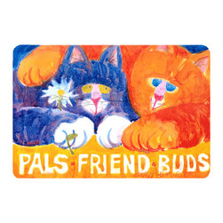 Caroline's Treasures - Cats Pals Friends Buds  Kitchen Or Bath Mat 20X30 - Kitchen or Bath COMFORT FLOOR MAT This mat is 20 inch by 30 inch.  Comfort Mat / Carpet / Rug that is Made and Printed in the USA. A foam cushion is attached to the bottom of the mat for comfort when standing. The mat has been permenantly dyed for moderate traffic. Durable and fade resistant. The back of the mat is rubber backed to keep the mat from slipping on a smooth floor. Use pressure and water from garden hose or power washer to clean the mat.  Vacuuming only with the hard wood floor setting, as to not pull up the knap of the felt.   Avoid soap or cleaner that produces suds when cleaning.  It will be difficult to get the suds out of the mat.