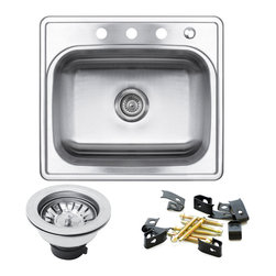 GOLDEN VANTAGE - GV 25-Inch Stainless Steel Kitchen Sink Single Bowl Top Mount W/Strainer - Our affordable stainless steel kitchen sink offer the most improved quality that make us a good choice for any environment. With durability, bigger bowl capacity and also easy to take care of, because the metal imparts a rich glow and adds corrosion resistance it will never get rusted, we use T-304 stainless steel and heavy duty sound deadening pads on all of our GV sinks.