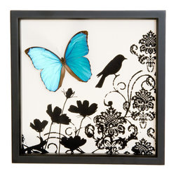 Bug Under Glass - Blue Morpho Butterfly with Bird Damask Print - Art and science come together in perfect harmony. A brilliant blue butterfly is perfectly preserved in this unique shadowbox, and a black bird damask print adds a charming illustrative quality. Import a touch of nature to your space that's sure to become a conversation piece.