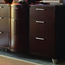 Opus Designs by Hooker - 7 Drawer Dresser in Brown Finish - 1 Door. Dresser: 58 in. W x 21 in. D x 32 in. H. Round mirror: 2 in. W x 37 in. H This contemporary collection is decidedly hip and sophisticated to please even the coolest teen or adult. It features a deep, rich merlot finish with brushed nickel accents to create a breathtaking look that will bring its own unique aura to today's interiors. Best of all, it is designed to grow with your child, with items like twin beds, underbed storage drawers and space-saving chests that are perfect for a small child's room, while smart platform beds, a distinctive desk and a unique round armoire will bring just the right ambiance to a teenager's room, or even a guest bedroom.
