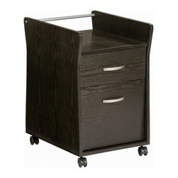 Techni Mobili - Techni Mobili Rolling File Cabinet Espresso in Espresso - Rolling File Cabinet Espresso in Espresso by Techni Mobli The Techni Mobili Rolling File Cabinet features raised sides providing for an open top shelf, a utility drawer, and a hanging file drawer. It is made with heavy-duty engineered wood panels with a moisture resistant PVC laminate veneer and a scratch-resistant powder-coated steel support rod. Double-wheel nylon casters offer additional support and easy mobility.  File Cabinet (1)