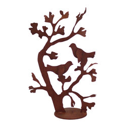 Ginko With Birds Garden Sculpture - Ginko with Birds is a graceful garden sculpture. It is cut from heavy rusted steel and hand welded in the USA. It is designed by California artist Susan Regert and is a great addition for any yard or home.