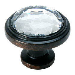 Cosmas - Cosmas Oil-Rubbed-Bronze and Clear Glass Round Cabinet Knob - Manufacturer: Cosmas