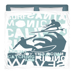 """Eco Friendly Made In USA """"Surfing California"""" Surfer Bedding King Comforter - Surf Into Your Bed With This Premium """"Surfing California"""" King Size Comforter From Our Surfer Bedding Bed and Bath Collection."""