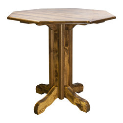"""Montana Woodworks - Montana Woodworks Homestead Pub Table Stained and Lacquered - From Montana Woodworks  the largest manufacturer of handcrafted  heirloom quality rustic furnishings in America comes the Homestead Collection line of furniture products.  Handcrafted in the mountains of Montana using solid  American grown wood  the artisans rough saw all the timbers and accessory trim pieces for a look uniquely reminiscent of the timber-framed homes once found on the American frontier.  This unique pub style table offers a choice of round  square or octagonal 45"""" tops and a table height of 40"""".  This table is a perfect match for Montana Woodworks barstools. (Sold Separately)  Some assembly required.  20-year limited warranty included at no additional charge."""
