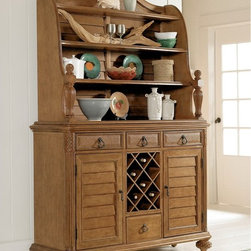 Grand Isle dining open hutch and buffet - This casual, tropical-style buffet and hutch features plenty of storage for decorative ceramic pieces and family heirlooms.