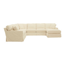 Ballard Designs - Graham 4-Piece Sectional with Right Arm Chaise and Left Arm Loveseat - Slipcover - With its tailored track arms and clean lines, our Graham 4-Piece Sectional with Right Arm Chaise, Left Arm Loveseat, Armless Loveseat and Corner Chair has a look you never tire of coming home to. Artisan crafted hardwood frames are made in the USA with mortise & tenon joints, corner blocks and double-doweled, screwed and glued for strength. Supportive foam core cushions are wrapped in soft poly-fiber and encased in luxurious down blend. Patented spring system assures years of comfortable wear. Choose one of our fabrics from our Stocked Collection, specially chosen because they work everywhere and mix with everything. You can also select one of our Made to Order fabrics or send us your own material. Graham Slipcovers are designed exclusively to fit our Graham seating and are required when ordering a Graham frame. Graham Slipcover Features:Custom fitted slipcovers prevent shifting and bunching. Strong, over-locking seams won't gap. Slipcovers remove easily for cleaning or a fresh change of seasonal color. Made in the USA